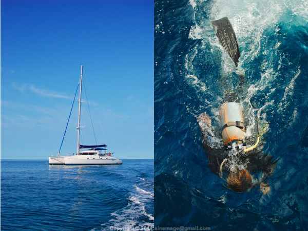 Sinemage Catamaran and diver