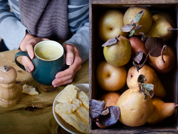 © 2012 Viviane Perenyi Sunchoke Soup & Crate with Pears