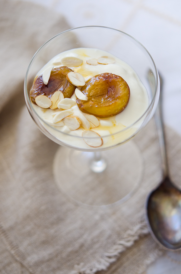 Roasted Plum Yogurt and Green Almonds | At Down Under | Viviane Perenyi